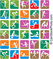 zomer, kleurrijke, -, sporten, symbolen