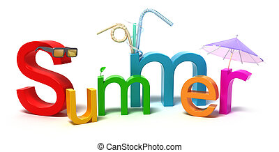zomer, kleurrijke, woord, brieven