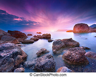 zomer, kleurrijke, zeezicht