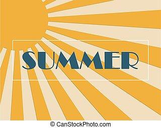 zomer, knippen, kunst, knallen, papier, concept, achtergrond, zonnestraal, style.