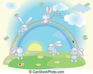 zomer, konijnen