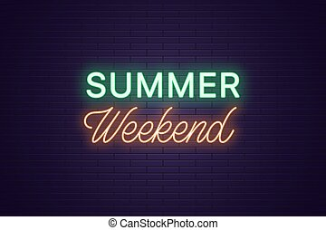 zomer, kop, tekst, neon, weekend., samenstelling