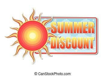 zomer, korting, v, etiket, zon