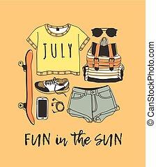 zomer, kunst, illustration., drawing., zon, werken, doddle, creatief, tropische , achtergrond., noteren, vector, tekst, daadwerkelijk, inkt, plezier, getrokken, hand, artistiek