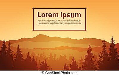 zomer, landscape, berg, bos, hemel, hout