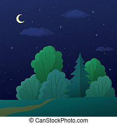 zomer, landscape, bos, nacht