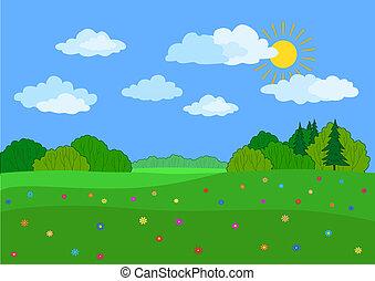 zomer, landscape, dag