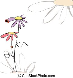 zomer, lente, achtergrond, floral, ladybirds, witte