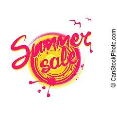 zomer, lettering, geverfde, zon, abstract, verkoop, afdrukken