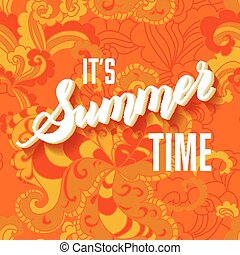 zomer, lettering, informatietechnologie, achtergrond, tijd, sinaasappel