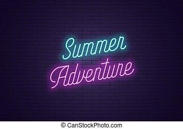 zomer, lettering, tekst, neon, adventure., gloeiend