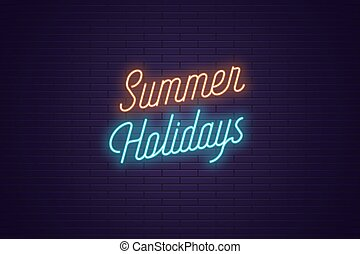 zomer, lettering, tekst, neon, holidays., gloeiend