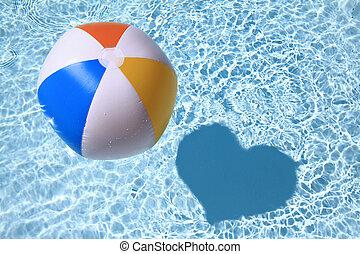 zomer liefde, zet op het strand bal, op, de, zwembad, met, hart formeerde, schaduw