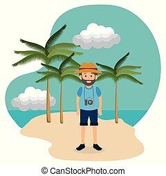 zomer, man, strand, jonge, vakanties