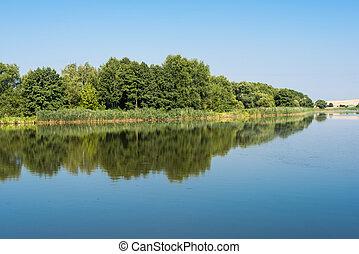 zomer, meer, landscape, morgen
