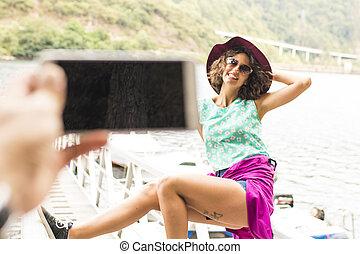 zomer, meisje, gepast, vakantie, foto's
