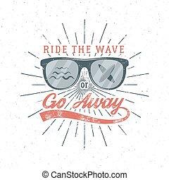 zomer, meldingsbord, ontwerp, gaan, logo, element., web, ouderwetse , -, strand, branding, badge., embleem, away., poster, golf, zeehondje, grafiek, surfer, print., surfing, surfboard, rijden, typografie, vector, of, bril