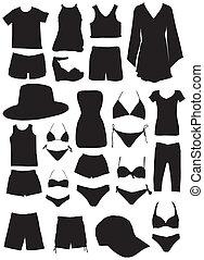 zomer, mode, kleren, silhouettes