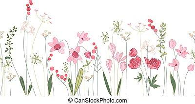 zomer, model, seamless, stylized, flowers., borstel