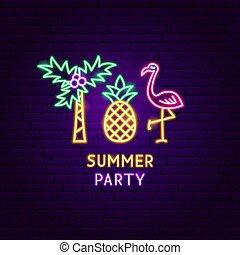 zomer, neon, feestje, etiket
