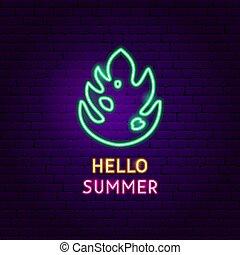 zomer, neon, hallo, etiket