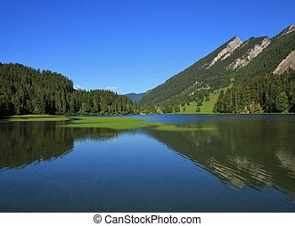 zomer, obersee, meer, landscape