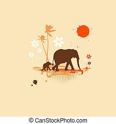 zomer, olifanten, gezin, illustratie