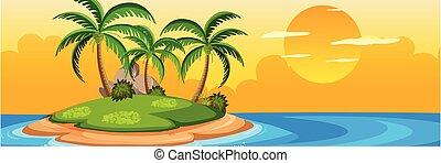 zomer, ondergaande zon , eiland