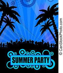 zomer, ontwerp, feestje