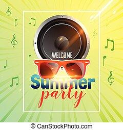 zomer, ontwerp, flyer, spreker, feestje