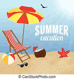 zomer, ontwerp, vakantie, poster