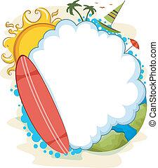 zomer, ontwerp, wolk, leeg