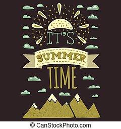 zomer, ontwerpen, ouderwetse , informatietechnologie, typographics, stijl, tijd, afdrukken