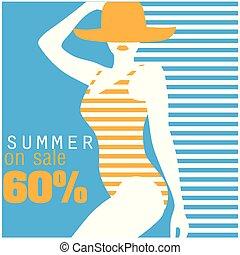 zomer, op, verkoop, 60%, zwemmen kostuum, blauwe achtergrond, vector, beeld