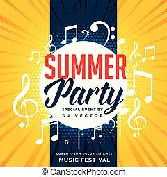 zomer, opmerkingen, flyer, ontwerp, feestje, muziek