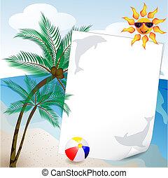 zomer, palm, achtergrond, zee