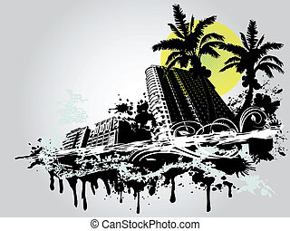 zomer, palm, stad