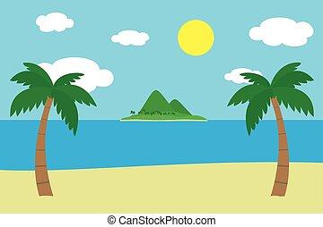 zomer, palm, zee, zanderig, blauwe , heuvels, zon, hemel, twee, tropische , gloeiend, onder, bedekt, strand, bergen, bomen, wolken, eiland, oever, groen gras, aanzicht