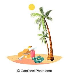 zomer, palmen, stro hoed, scène, strand