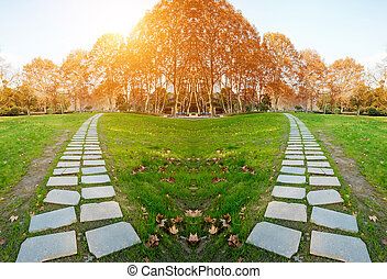 zomer, park., landscape, steegjes