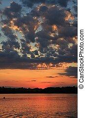 zomer, pfaeffikersee, wolken, op, meer, ondergaande zon