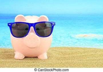 zomer, piggy bank , met, zonnebrillen, op het strand