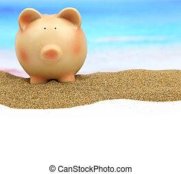 zomer, piggy bank , op het strand