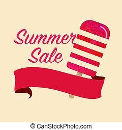 zomer, popsicle, kleurrijke, titel, verkoop, textuur, watercolor, vector, mal, bevordering, spandoek