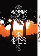 zomer, poster., feestdagen