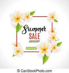zomer, poster, frame, verkoop, reclame, korting, flowers.