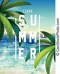 zomer, poster, ontwerp