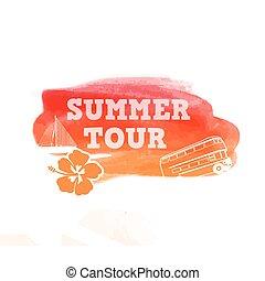 zomer, reis, watercolor, vorm