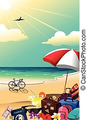zomer, reizen, poster