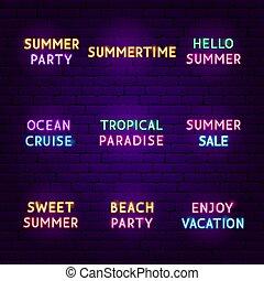 zomer, reizen, set, neon, tekst